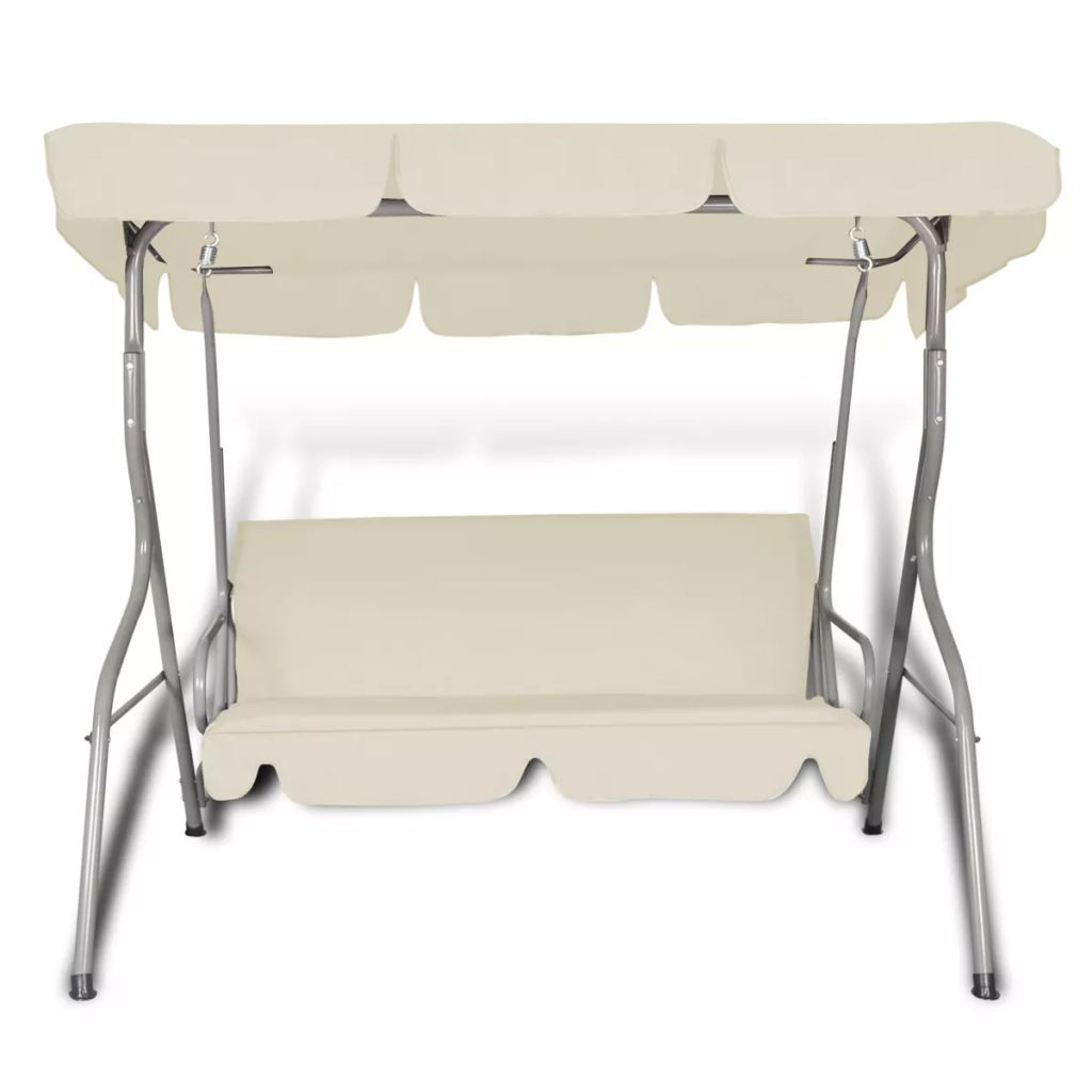 Outdoor Hanging Swing Chair with a Canopy for 3 Persons Sand White 2