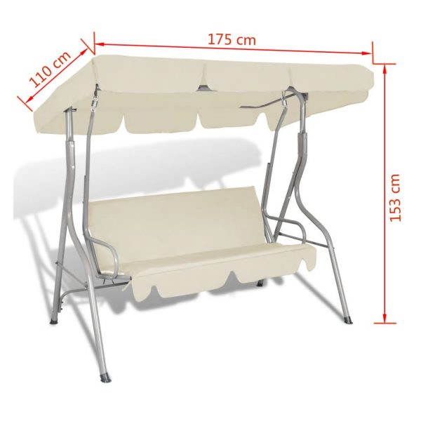 Outdoor Hanging Swing Chair with a Canopy for 3 Persons Sand White 5