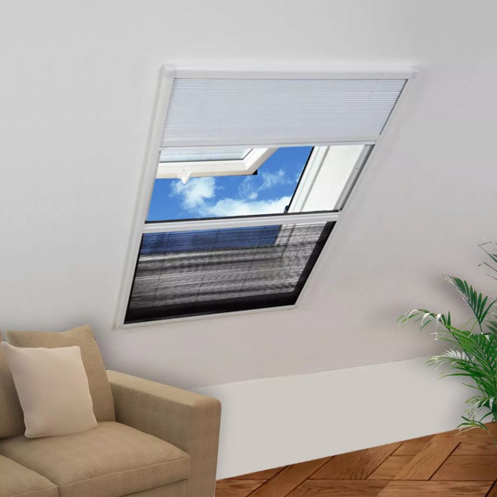 Insect Plisse Screen Window Aluminium 160 x 110 cm with Shade 1