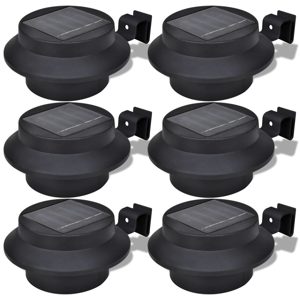 Outdoor Solar Lamp Set 6 pcs Fence Light Gutter Light Black
