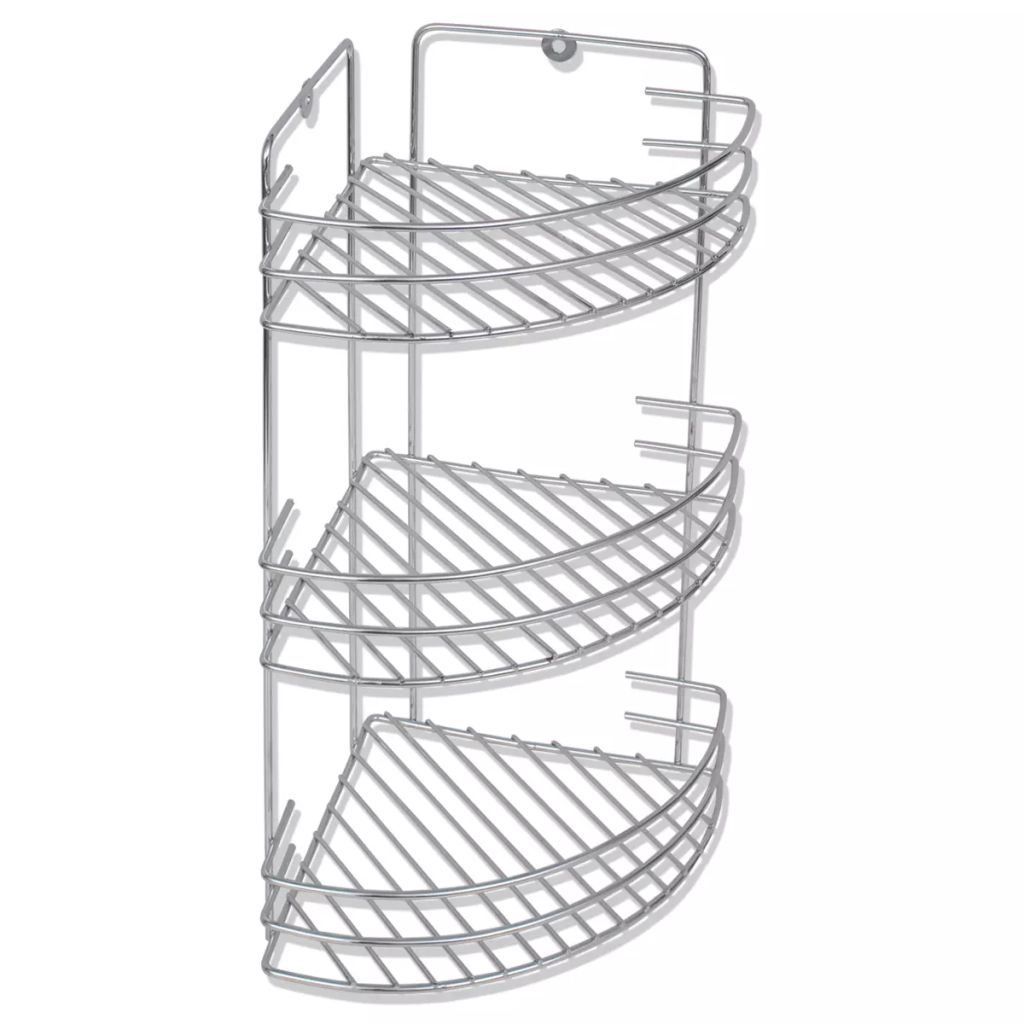 Wall Mounted Shower Corner Shelf 3-Tier Metal 1