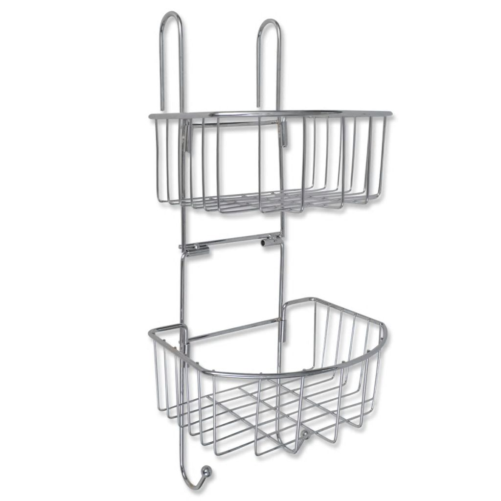 Metal Shower Shelf 2-Tier with 2 Hangers 1