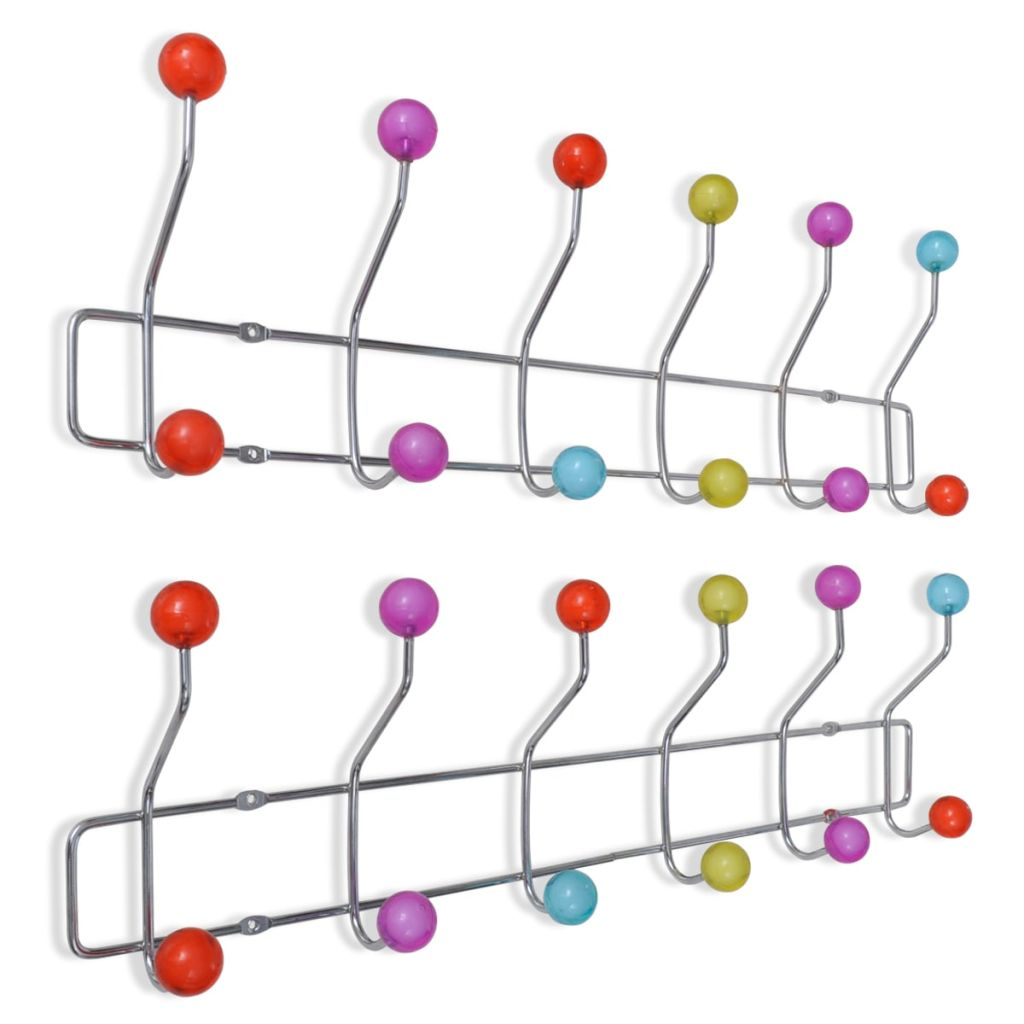 Colourful Wall Peg Board with 12 Hooks 2 pcs 1