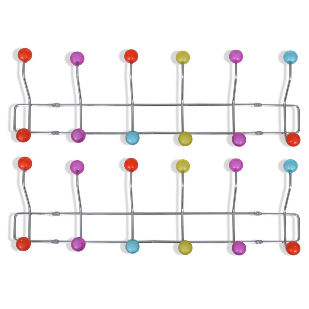 Colourful Wall Peg Board with 12 Hooks 2 pcs 2