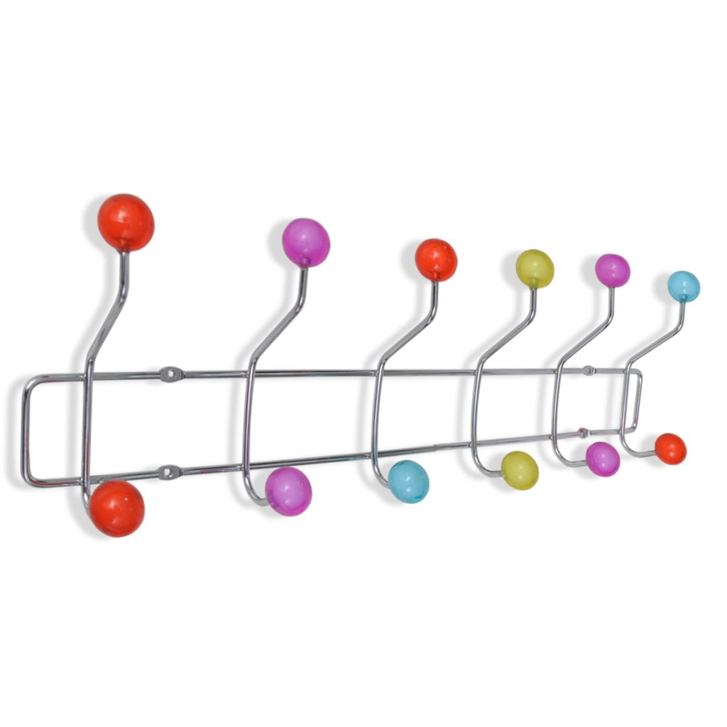 Colourful Wall Peg Board with 12 Hooks 2 pcs 5