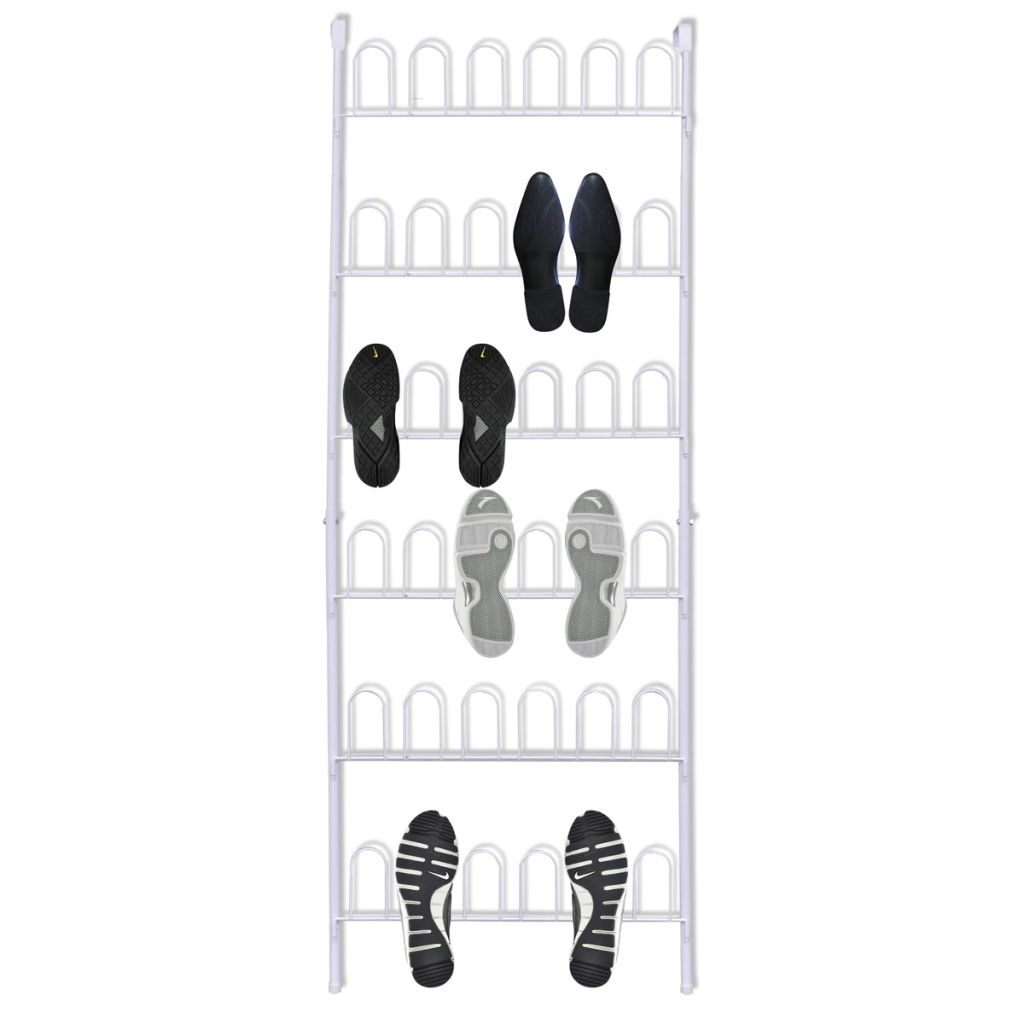 Shoe Rack for 18 Pairs of Shoes Steel White