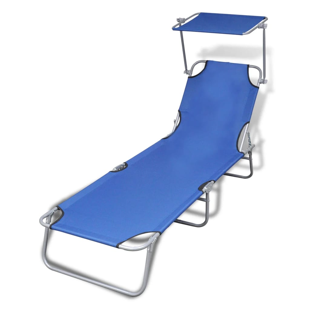 Folding Sun Lounger with Canopy Steel and Fabric Blue 1