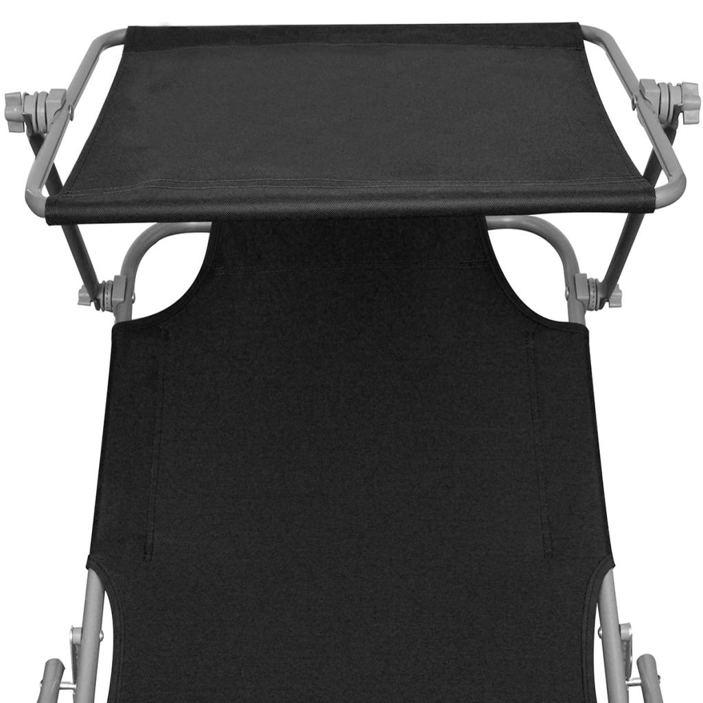 Folding Sun Lounger with Canopy Steel and Fabric Black 4