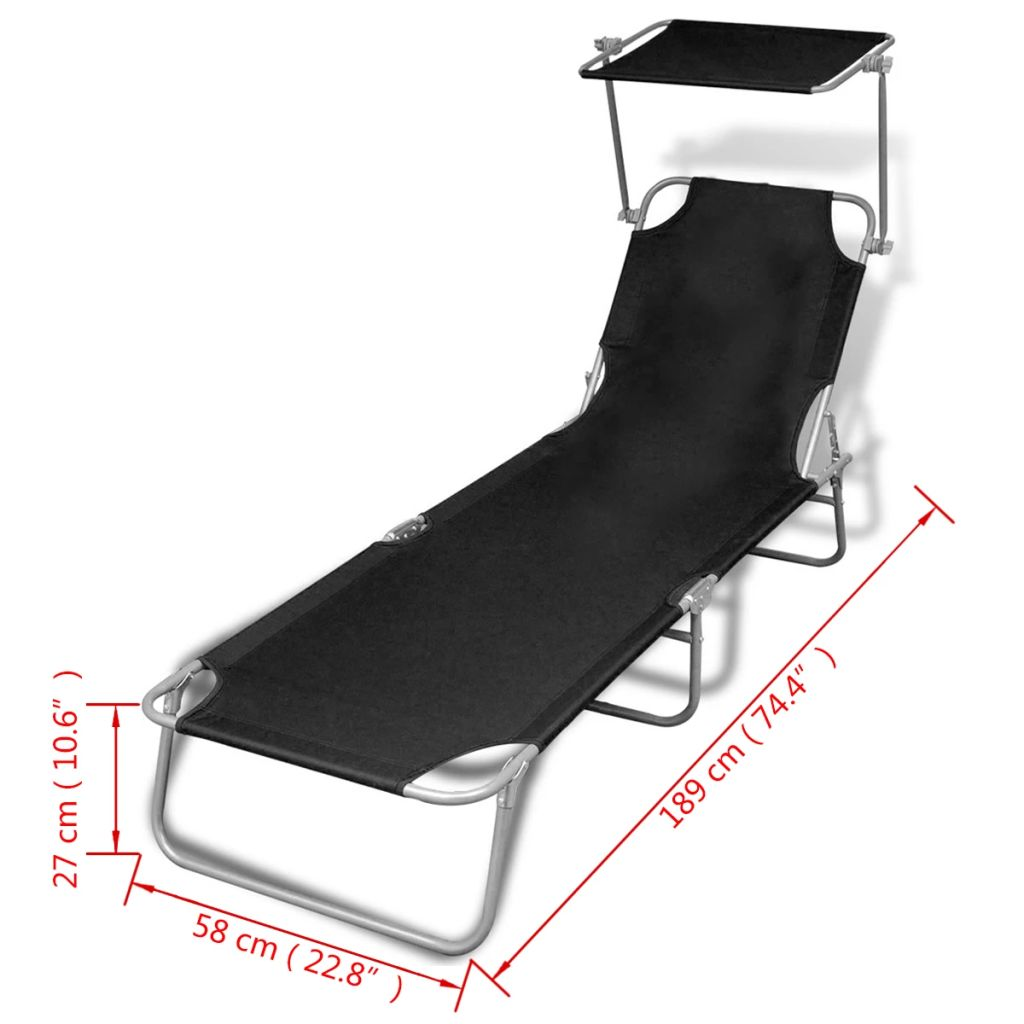 Folding Sun Lounger with Canopy Steel and Fabric Black 7