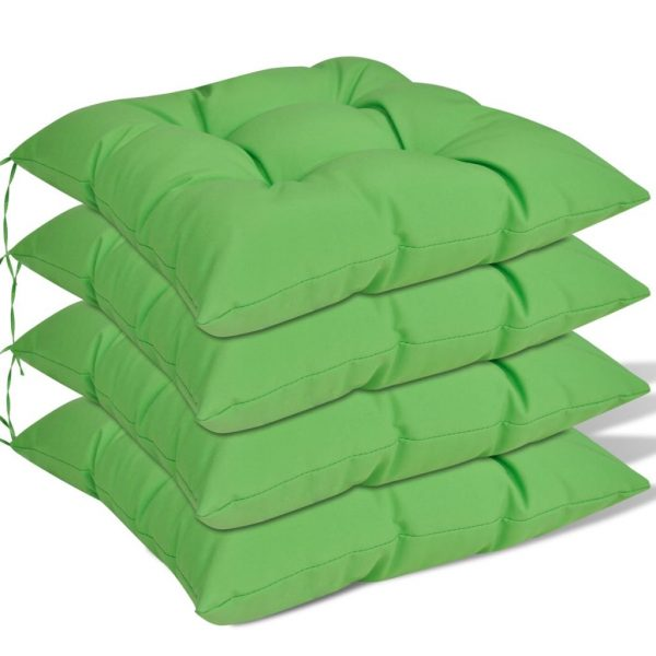 Chair Cushions 4 pcs 40x40x8 cm Green 1