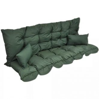4 Piece Cushion Set for Swing Chair Green Fabric 1