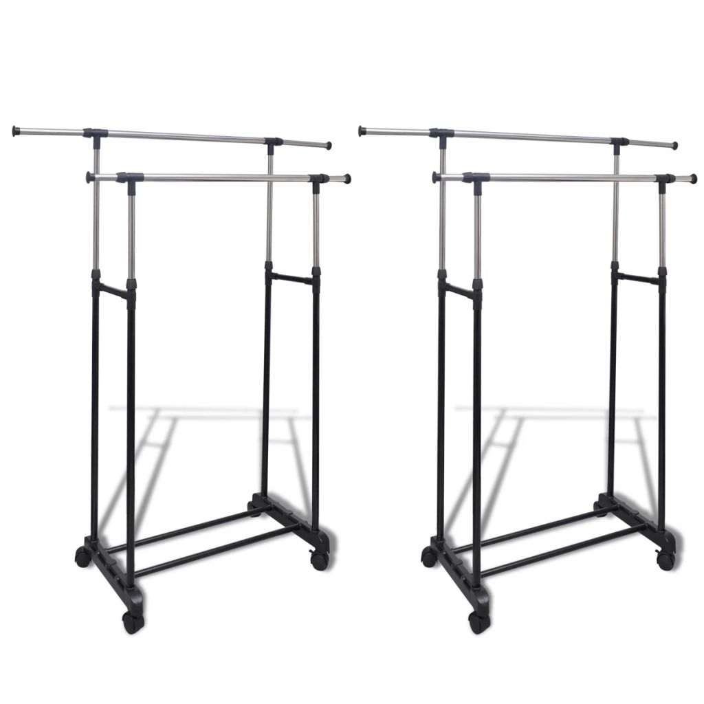 Adjustable Clothes Rack with 2 Hanging Rails 2 pcs 1
