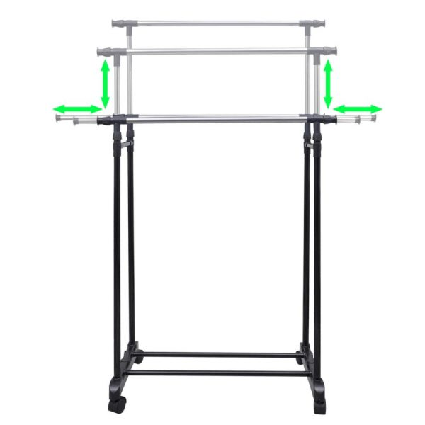 Adjustable Clothes Rack with 2 Hanging Rails 2 pcs 3