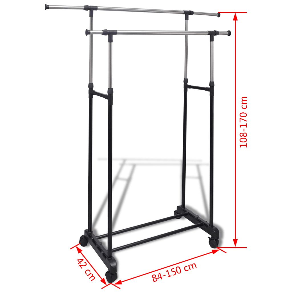 Adjustable Clothes Rack with 2 Hanging Rails 2 pcs 7