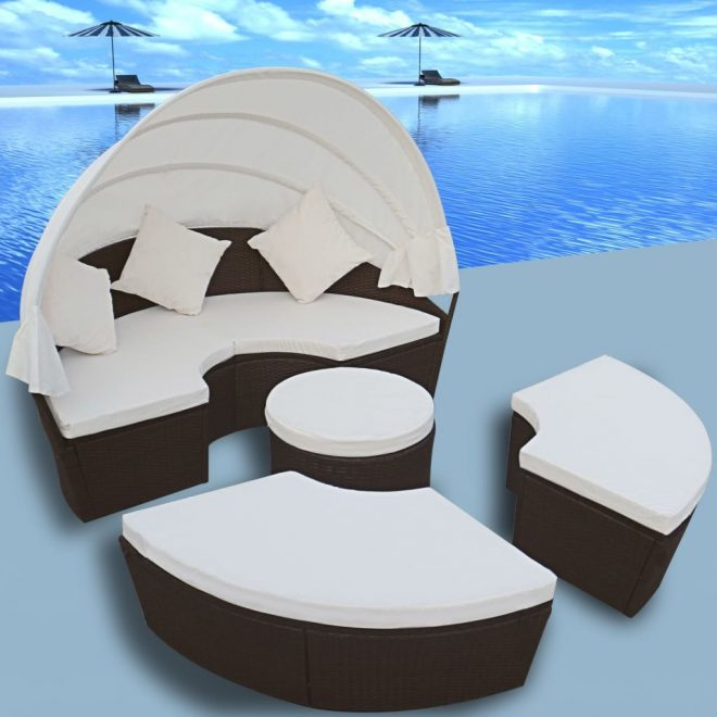 Outdoor Lounge Bed with Canopy Poly Rattan Brown 1