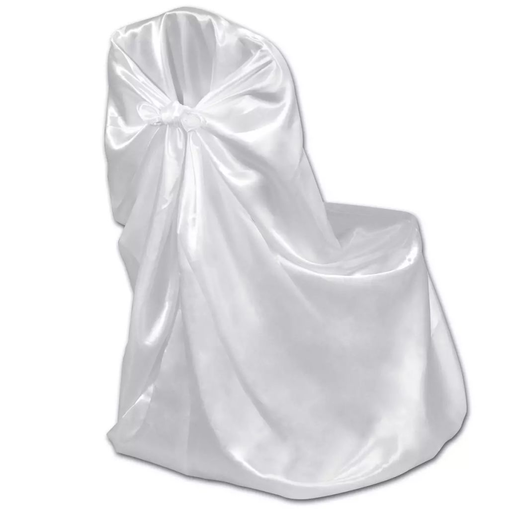 6 pcs White Chair Cover for Wedding Banquet 3