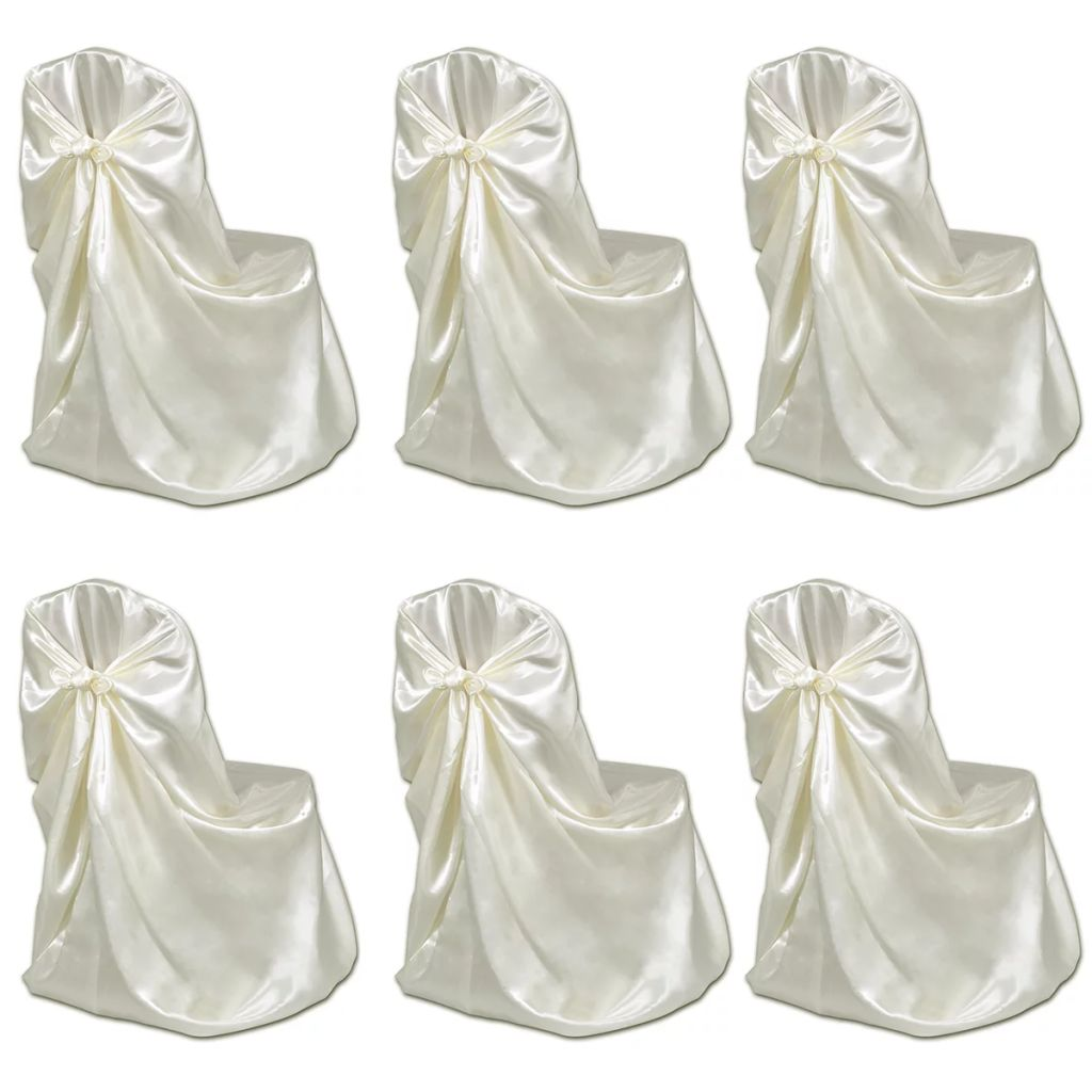 6 pcs Cream Chair Cover for Wedding Banquet 1