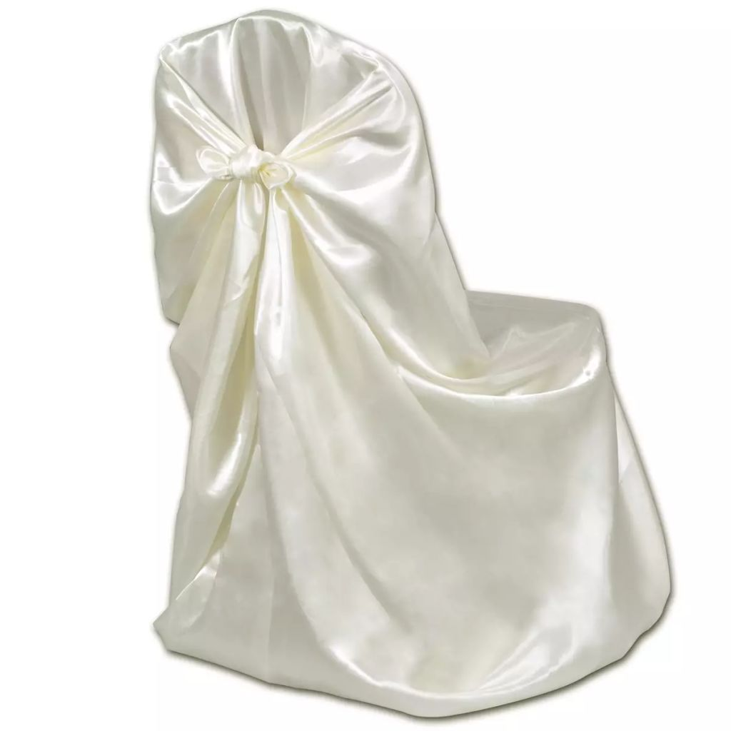 6 pcs Cream Chair Cover for Wedding Banquet 3