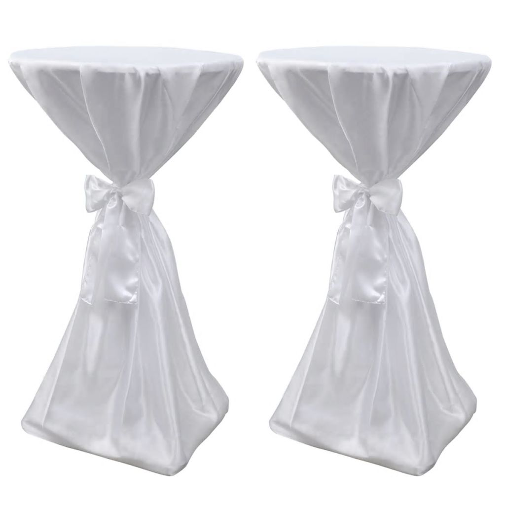 Table Cover White 70 cm with Ribbon 2 pcs 1