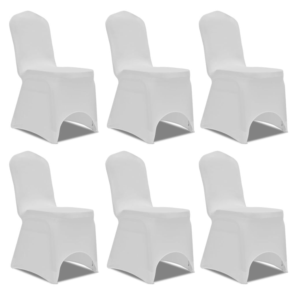 Chair Cover Stretch White 6 pcs 1