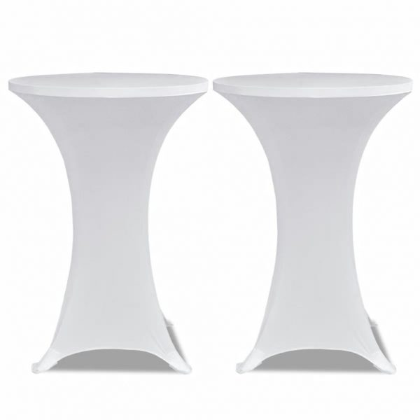 Standing Table Cover Ø 60 cm White Stretch 2 pcs 2