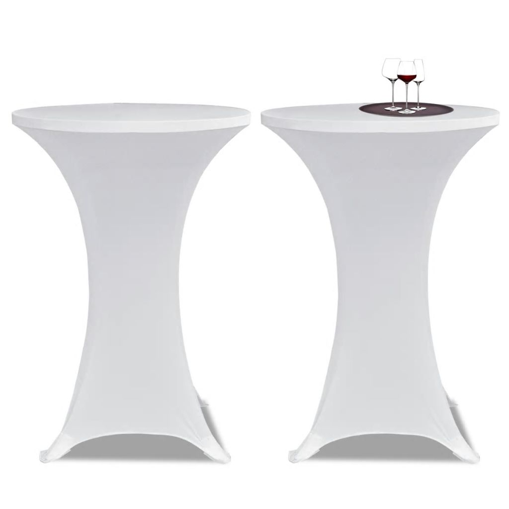 Standing Table Cover Ø 60 cm White Stretch 2 pcs 1