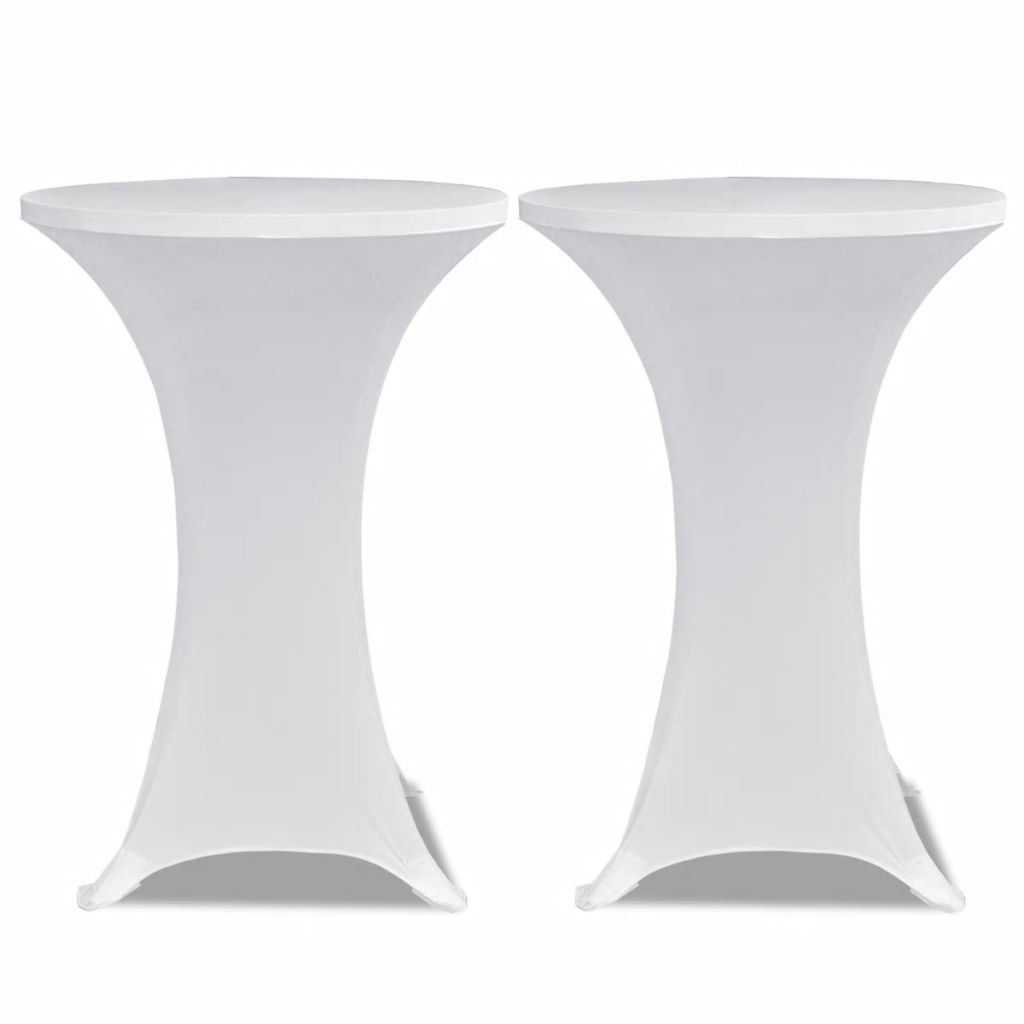 Standing Table Cover Ø 70 cm White Stretch 2 pcs 2
