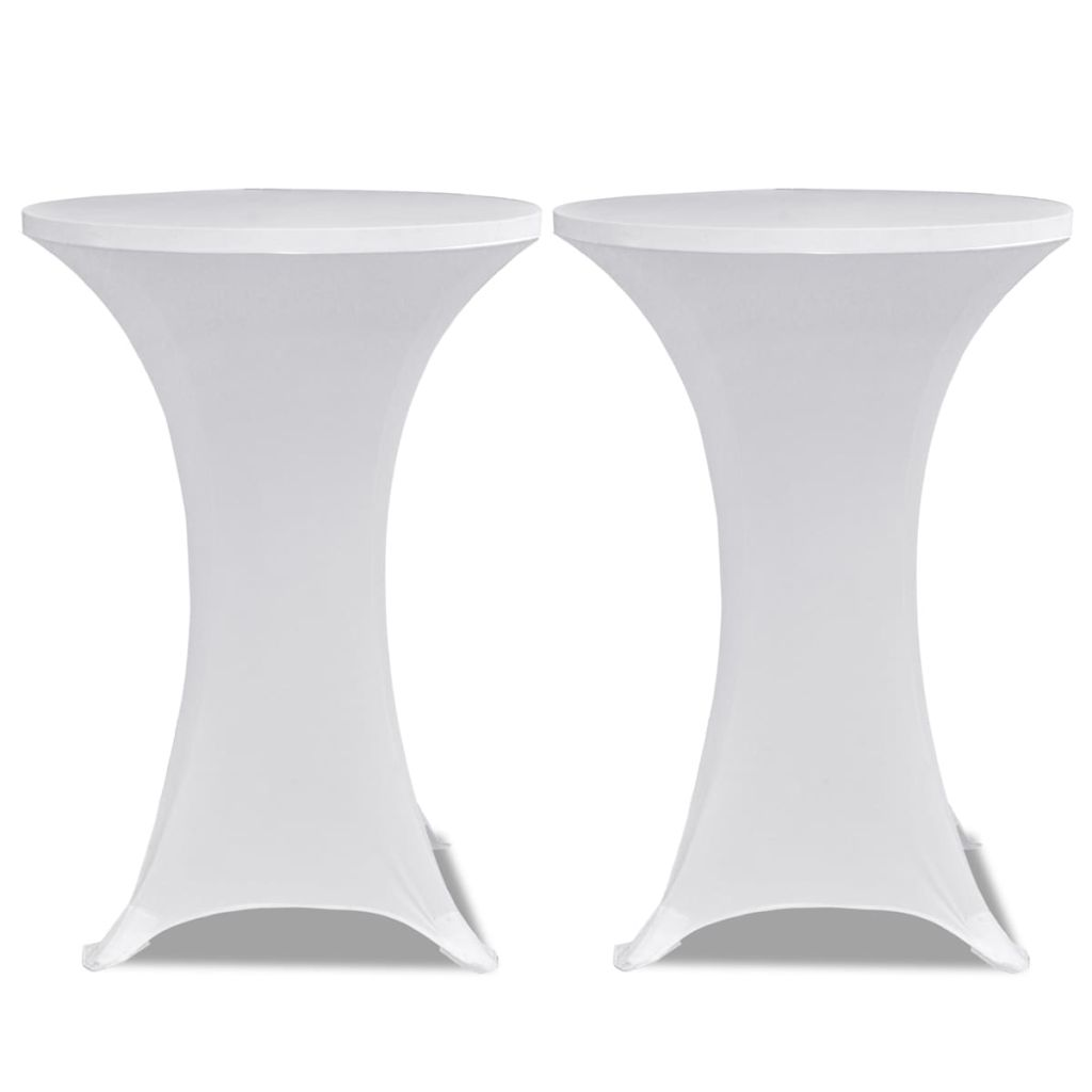 Standing Table Cover Ø 80 cm White Stretch 2 pcs 2