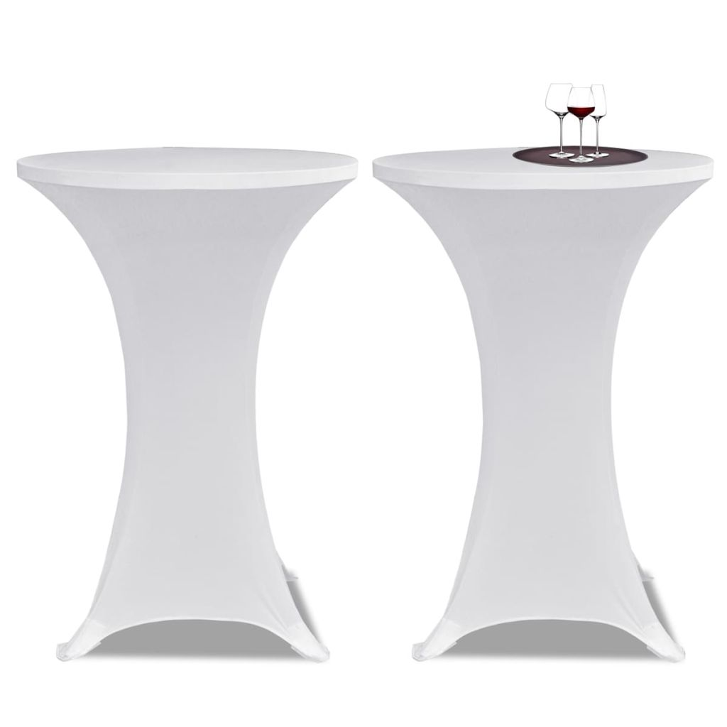 Standing Table Cover Ø 80 cm White Stretch 2 pcs 1