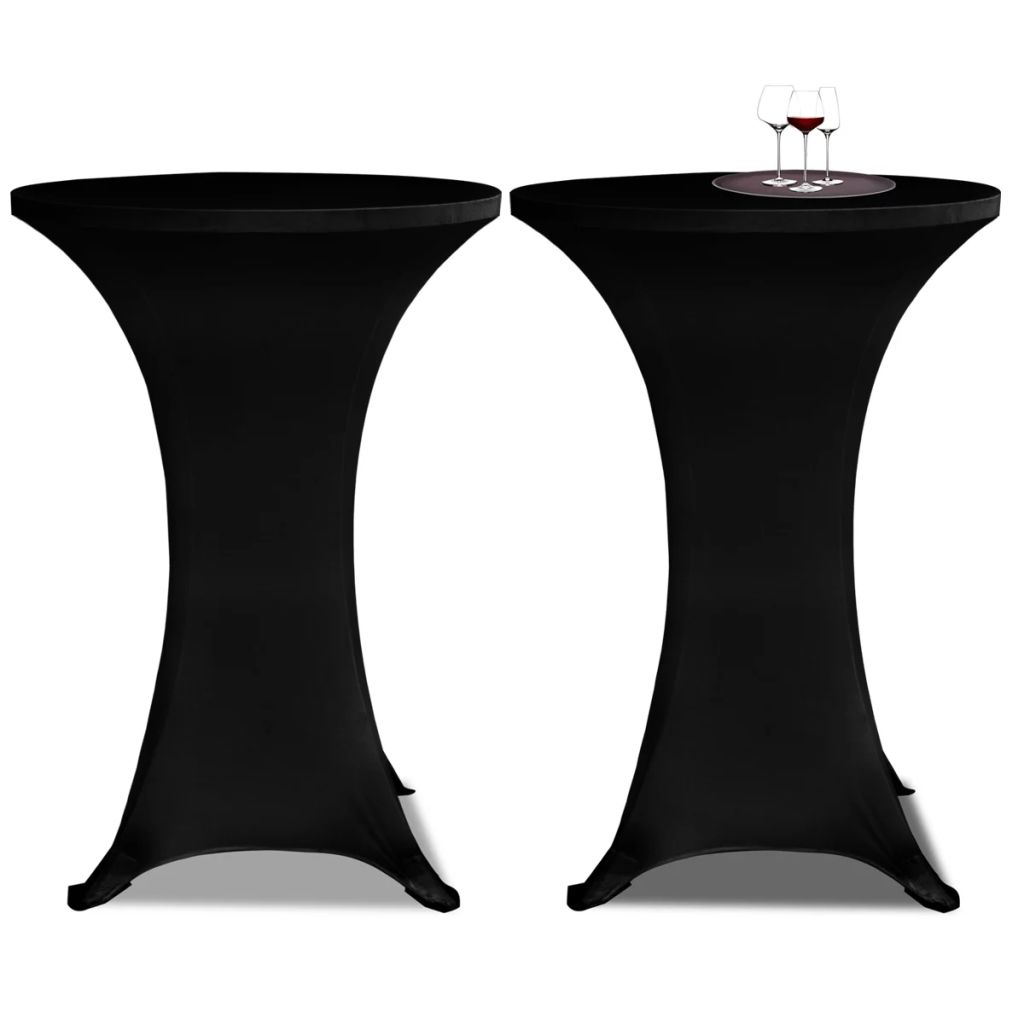 Standing Table Cover Ø 80 cm Black Stretch 2 pcs 1