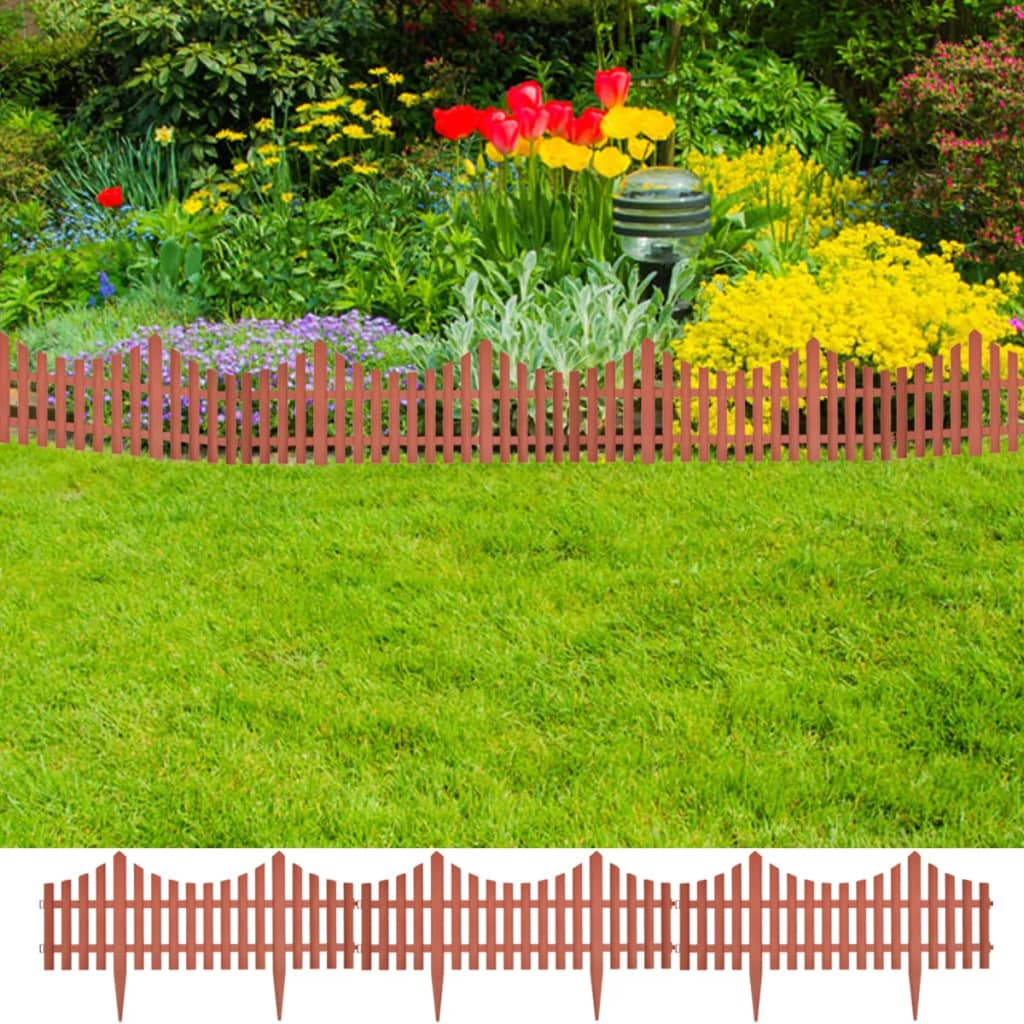 17 pcs Lawn Dividers 10 m Brown 1