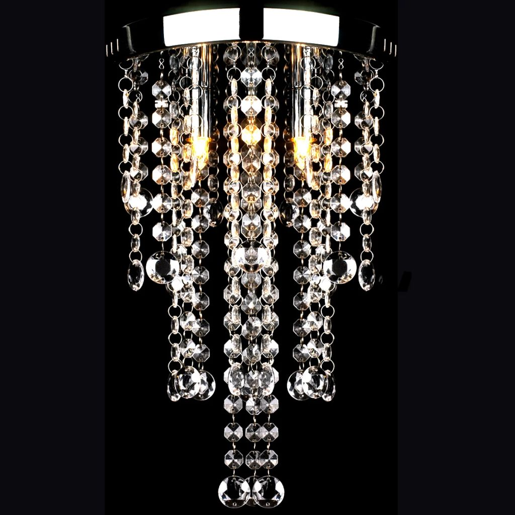 White Metal Ceiling Lamp with Crystal Beads 1