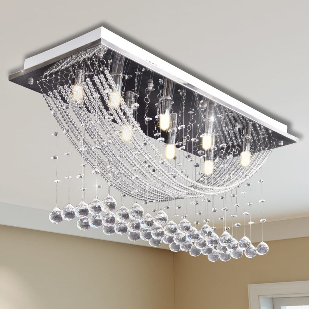 Ceiling Lamp with Glittering Glass Crystal Beads 8 x G9 29 cm 1