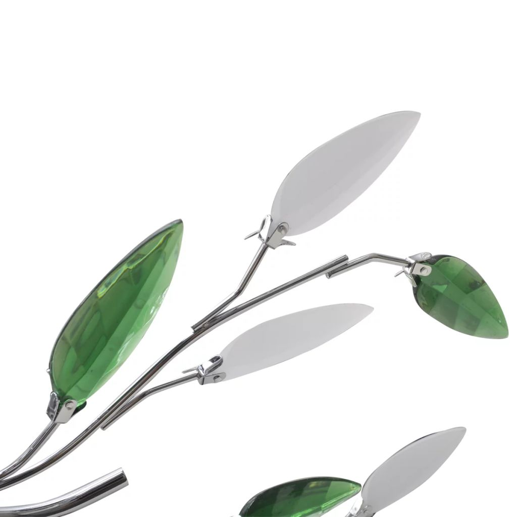 Green&White Ceiling Lamp with Acrylic Crystal Leaf Arms for 5 E14Bulbs 3