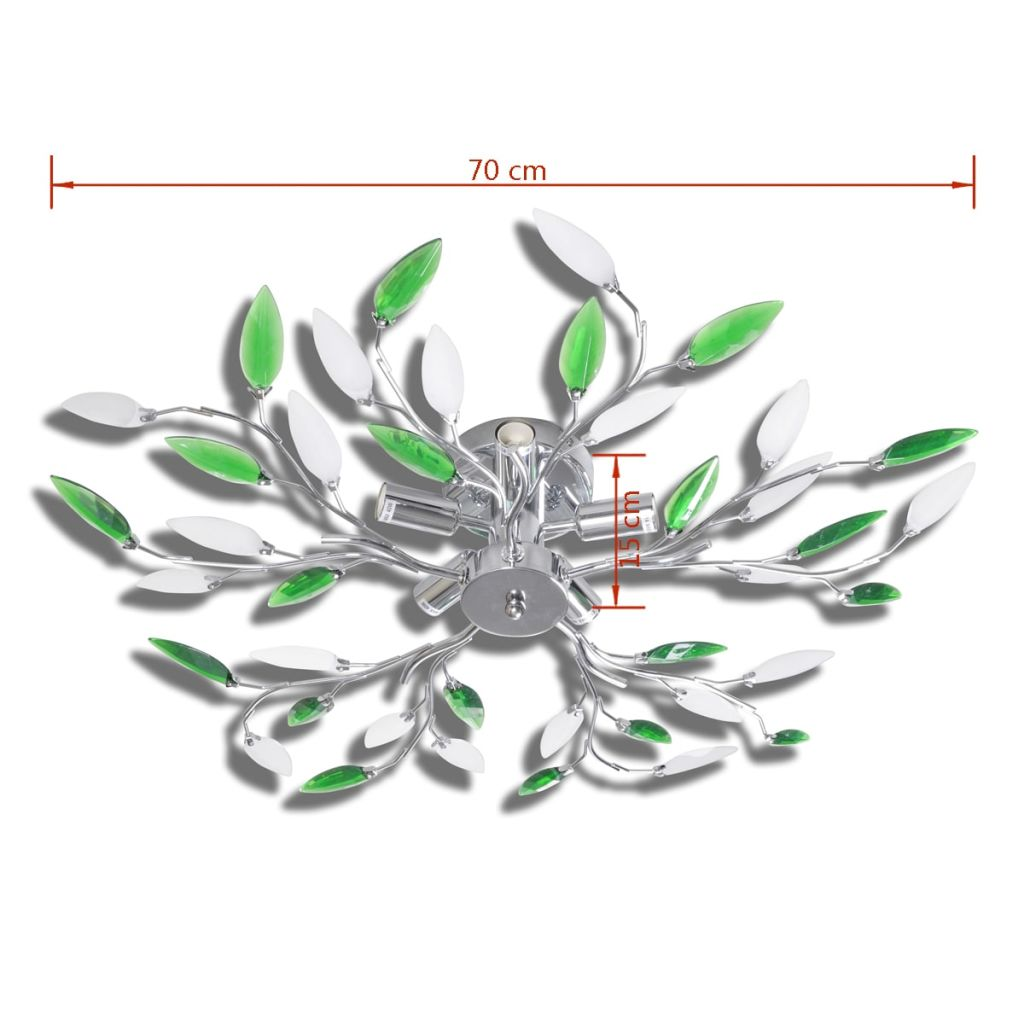 Green&White Ceiling Lamp with Acrylic Crystal Leaf Arms for 5 E14Bulbs 6