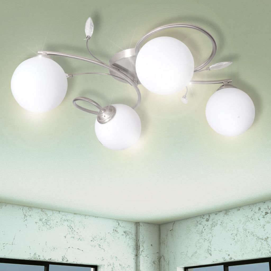 Ceiling Lamp Transparent Acrylic Leaves and Glass Shades for 4 G9Bulbs 1