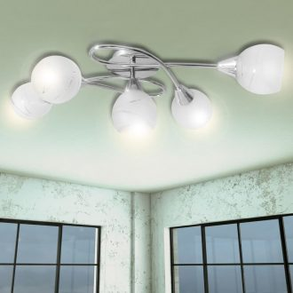 Ceiling Lamp with Glass Shades for 5 E14 Bulbs 1