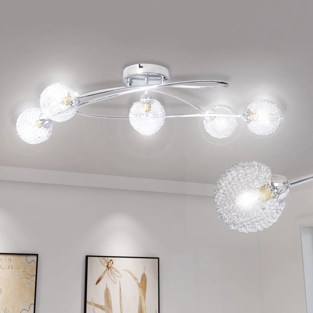Ceiling Lamp with Mesh Wire Shades for 5 G9 Bulbs 1