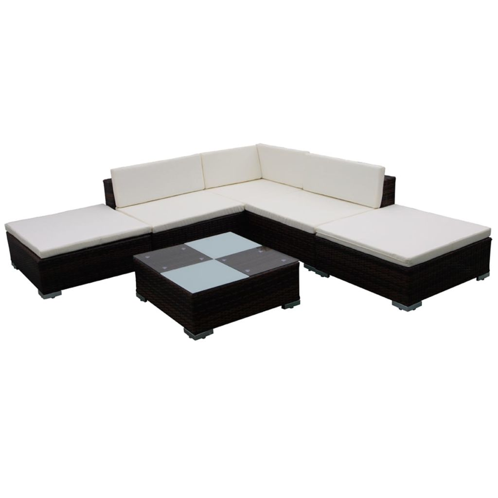 6 Piece Garden Lounge Set with Cushions Poly Rattan Brown 2