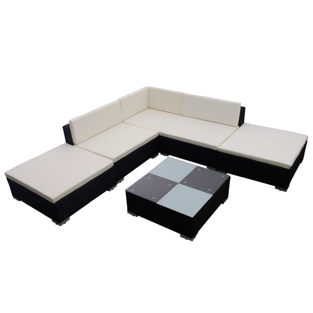 6 Piece Garden Lounge Set with Cushions Poly Rattan Black 2