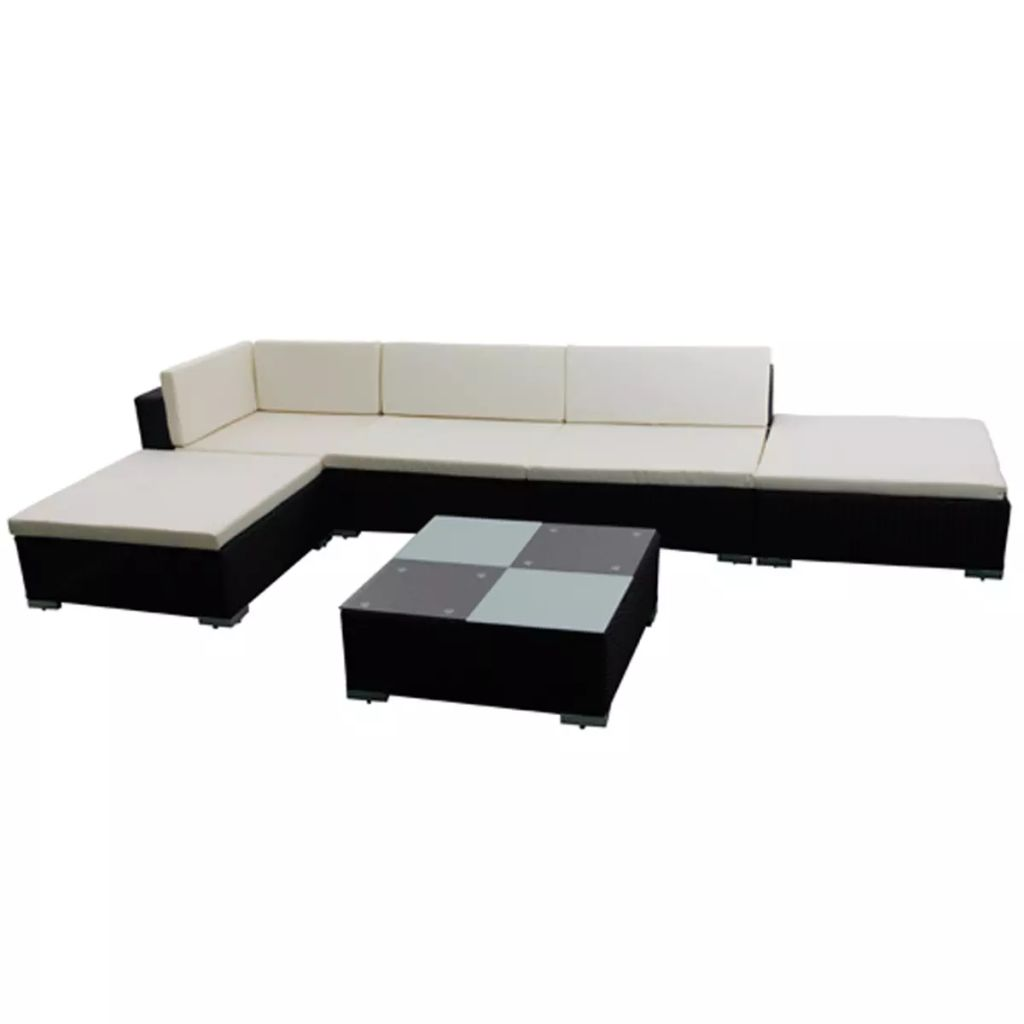 6 Piece Garden Lounge Set with Cushions Poly Rattan Black 3