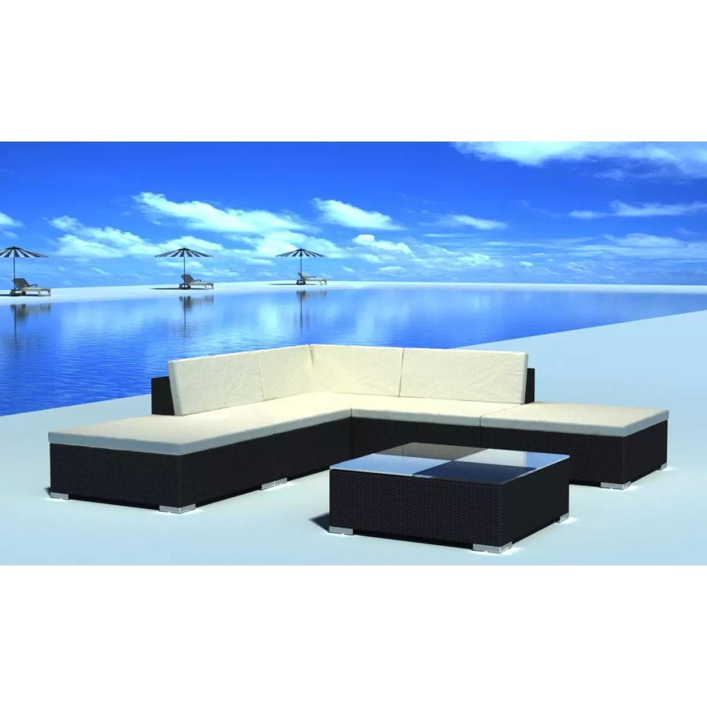 6 Piece Garden Lounge Set with Cushions Poly Rattan Black 1