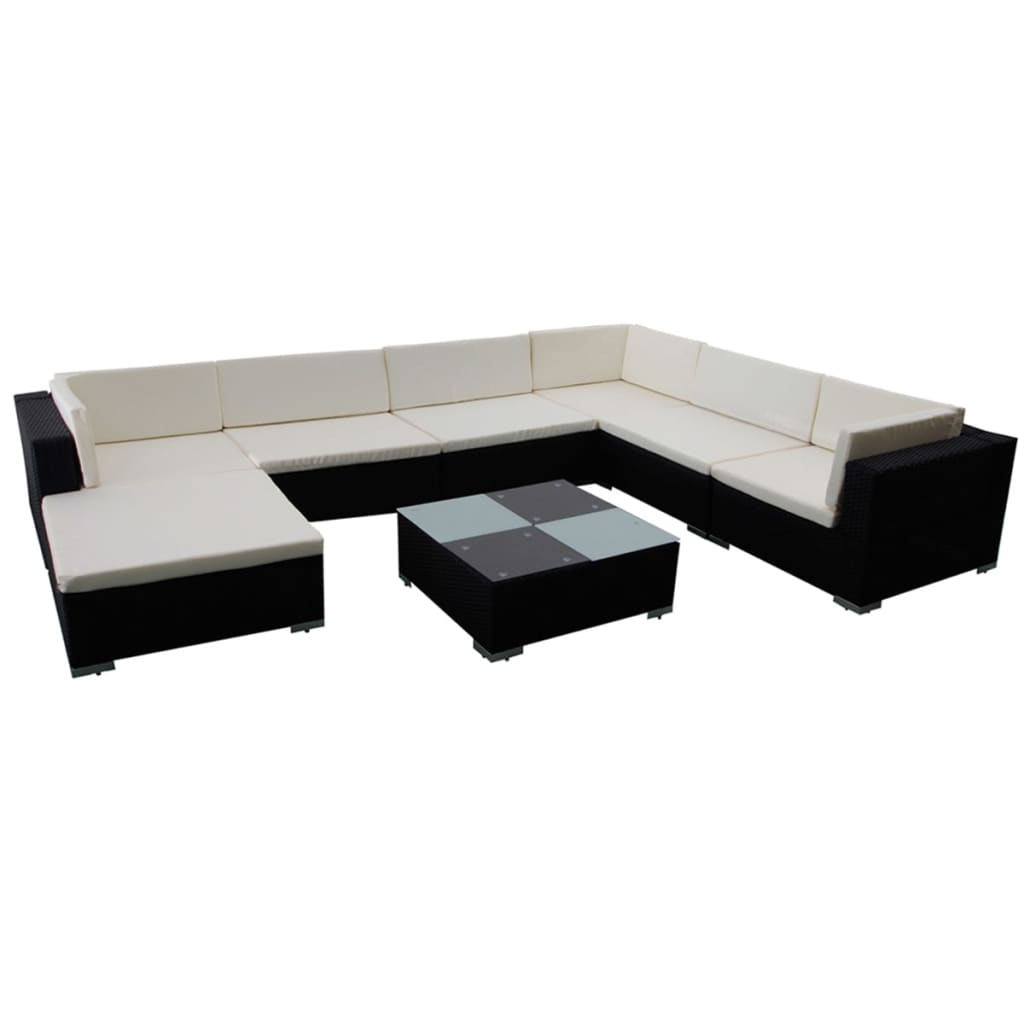 8 Piece Garden Lounge Set with Cushions Poly Rattan Black 2
