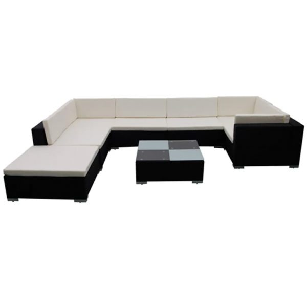 8 Piece Garden Lounge Set with Cushions Poly Rattan Black 4