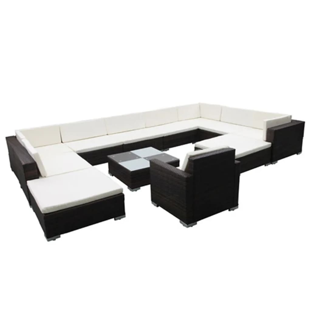 12 Piece Garden Lounge Set with Cushions Poly Rattan Brown 2