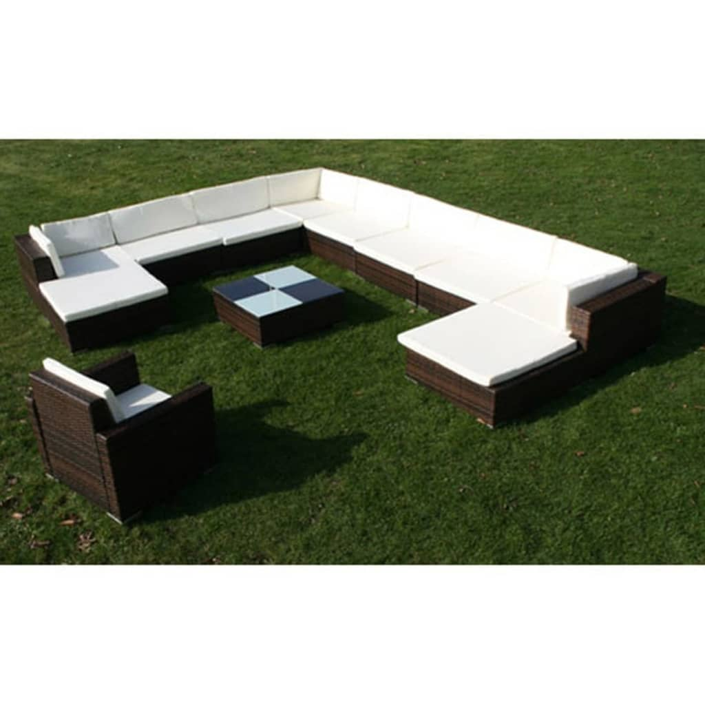 12 Piece Garden Lounge Set with Cushions Poly Rattan Brown 4
