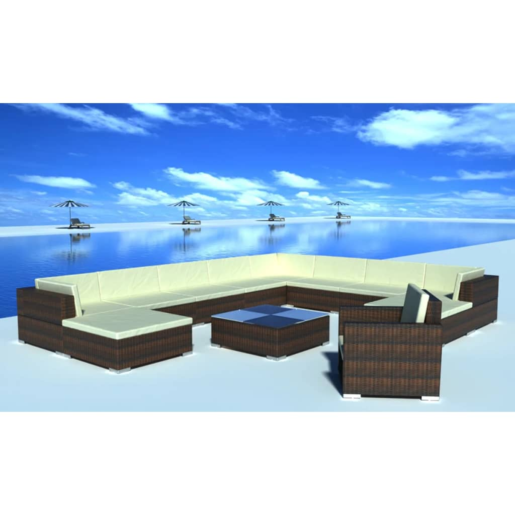 12 Piece Garden Lounge Set with Cushions Poly Rattan Brown 1