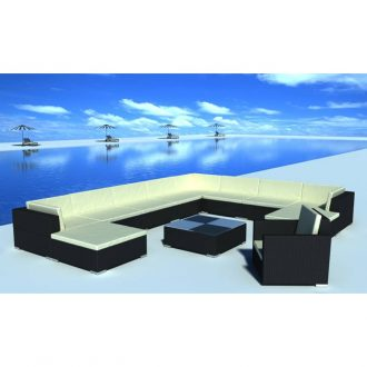 12 Piece Garden Lounge Set with Cushions Poly Rattan Black 1
