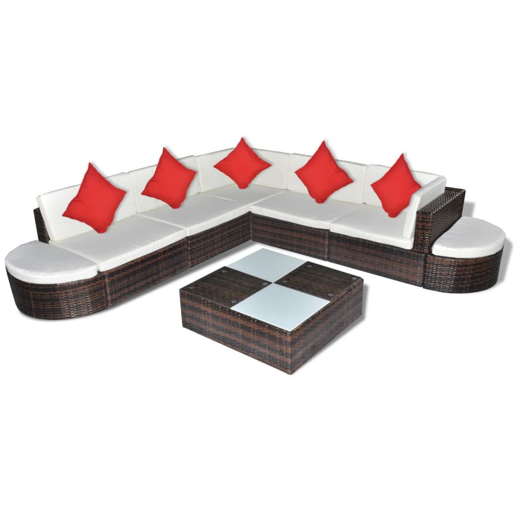 8 Piece Garden Lounge Set with Cushions Poly Rattan Brown 2
