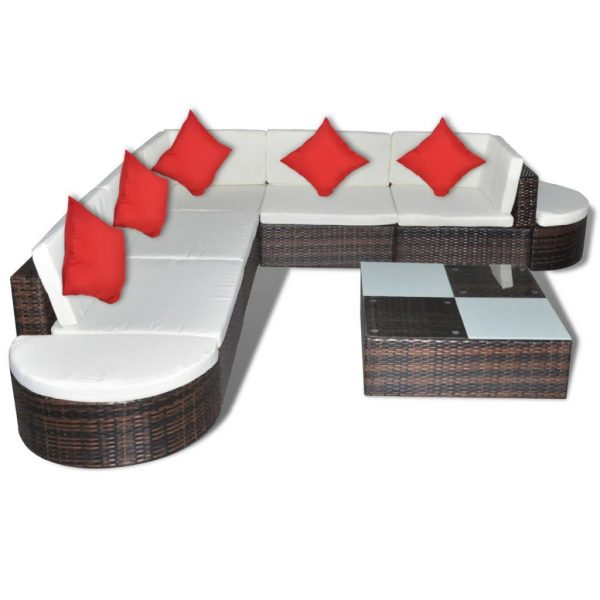 8 Piece Garden Lounge Set with Cushions Poly Rattan Brown 3